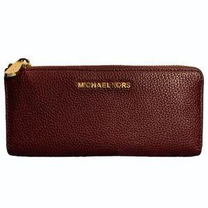 Michael Kors Maroon w/ Gold Zipper Large Wallet
